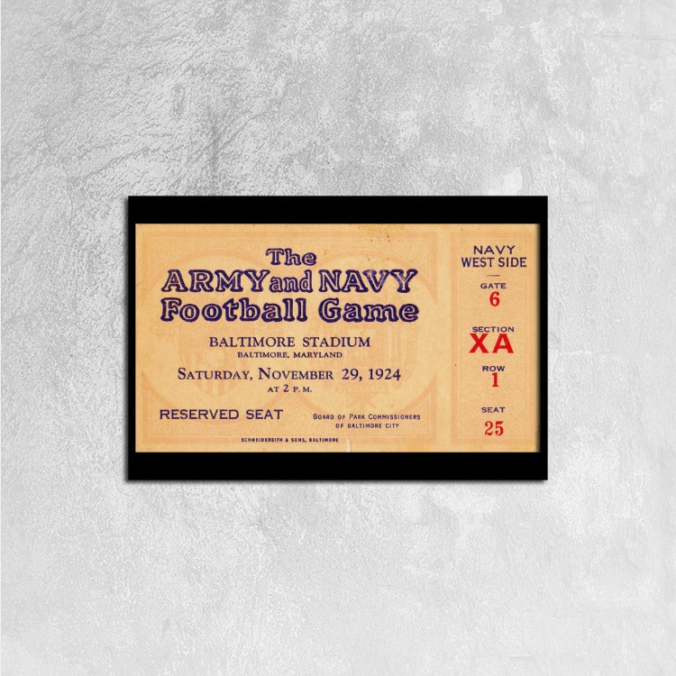 1924 Army vs. Navy Canvas Ticket Stretched Black Horizontal Frame Ready to Hang, 24 ⅹ 16 inch