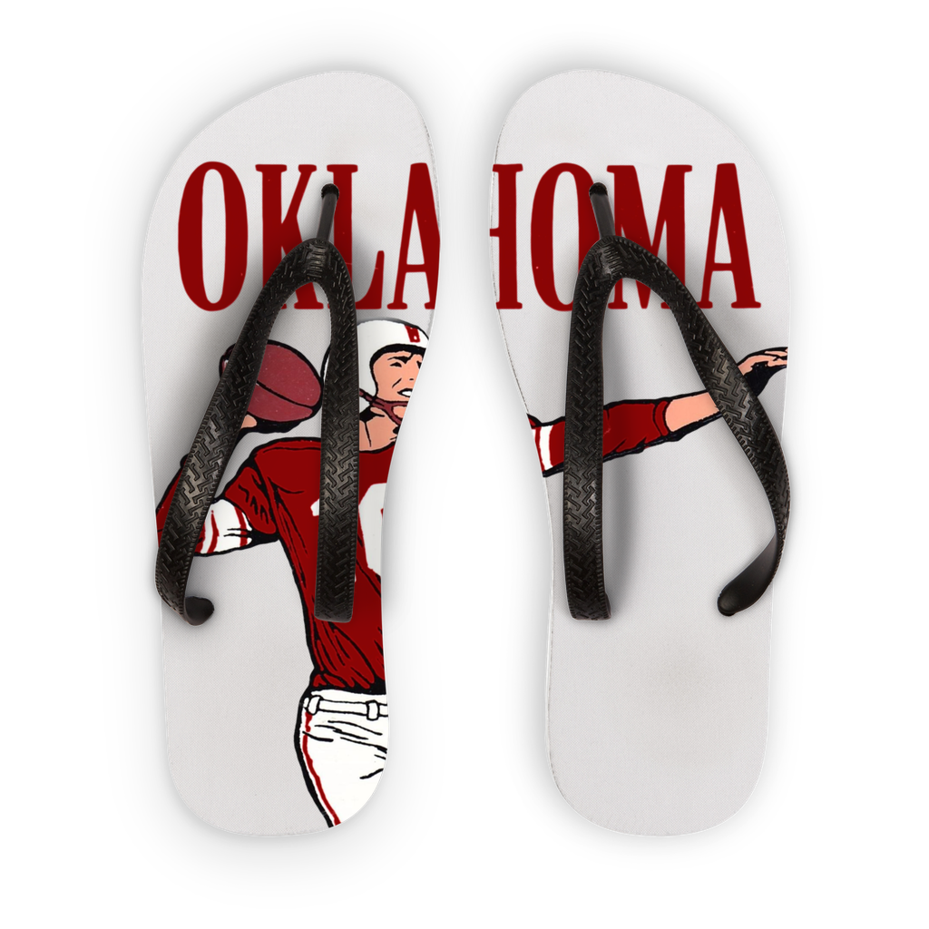 1950's Oklahoma Football Quarterback Adult Flip Flops