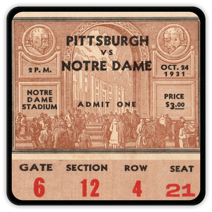 1931 Pittsburgh vs. Notre Dame Ticket Coasters