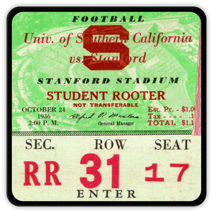 1936 Stanford vs. USC Ticket Coasters