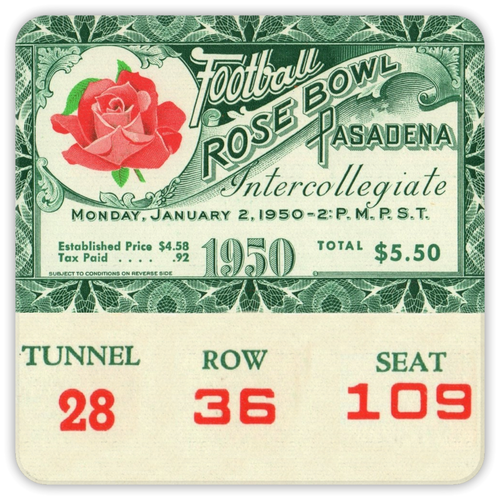 1950 Rose Bowl Ticket Coasters