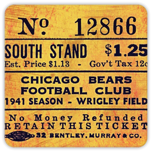 1941 Chicago Bears Ticket Coasters