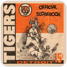 Load image into Gallery viewer, 1938 Detroit Tiger Scorebook Birch Wood Coasters