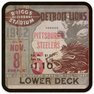 1942 Detroit Lions Birch Wood Ticket Coasters