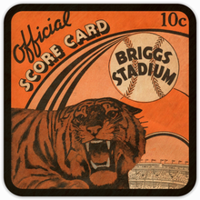 Load image into Gallery viewer, 1939 Detroit Tigers Score Card Birch Wood Coasters