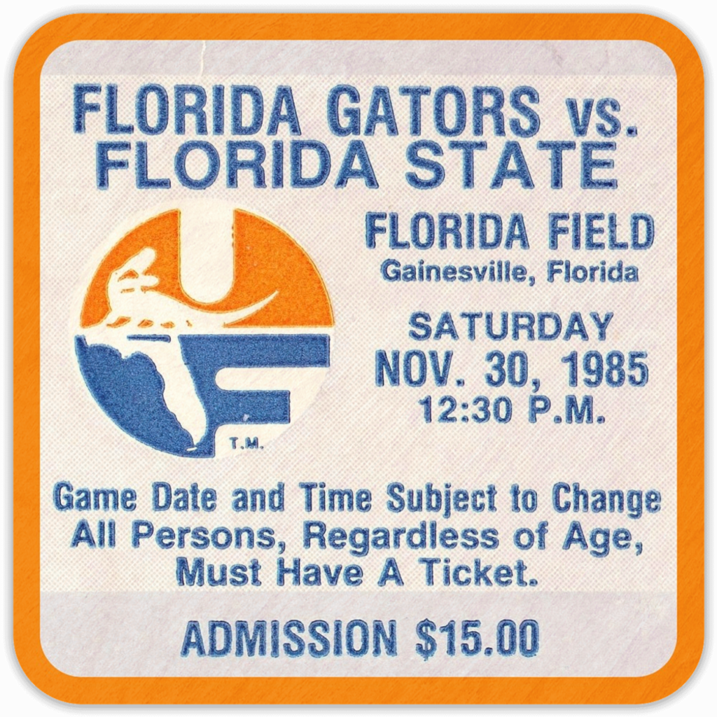 1985 Florida State vs. Florida Birch Wood Ticket  Coasters