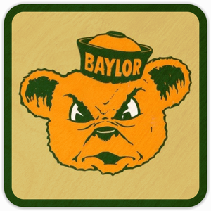 1950's Baylor Bear Birch Wood Coasters