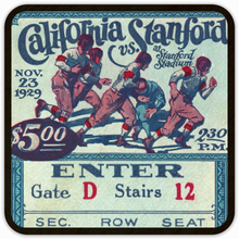 Load image into Gallery viewer, 1929 California vs. Stanford Big Game Birch Wood Ticket Coasters