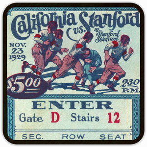 1929 California vs. Stanford Big Game Birch Wood Ticket Coasters