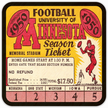 Load image into Gallery viewer, 1950 Minnesota Football Season Ticket Drink Coasters