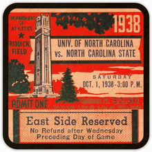 Load image into Gallery viewer, 1938 North Carolina State Ticket Coasters