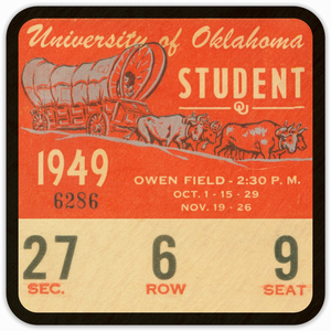1949 Oklahoma Sooners Ticket Coasters
