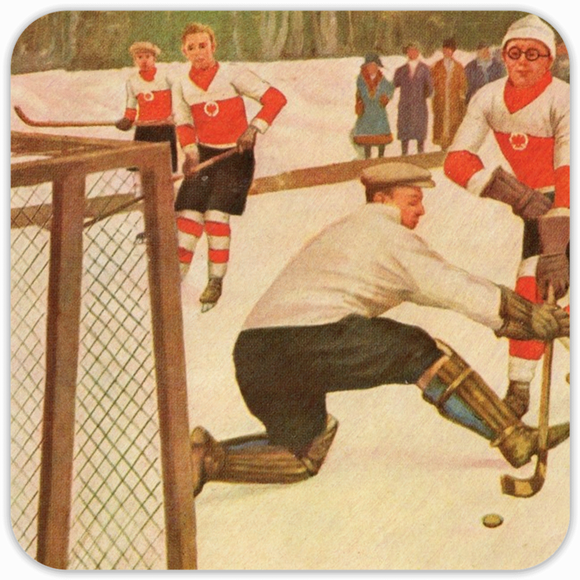 1930's Hockey  Birch Wood Coasters