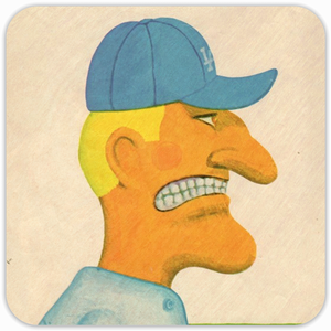 Coolstub™ Bad Mood Baseball Manager Birch Wood Baseball Coasters