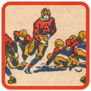 1938 Football Action Birch Wood Coasters