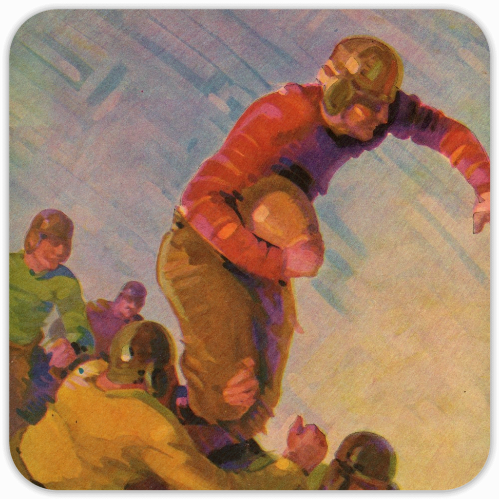 1928 Football Action Birch Wood Coasters