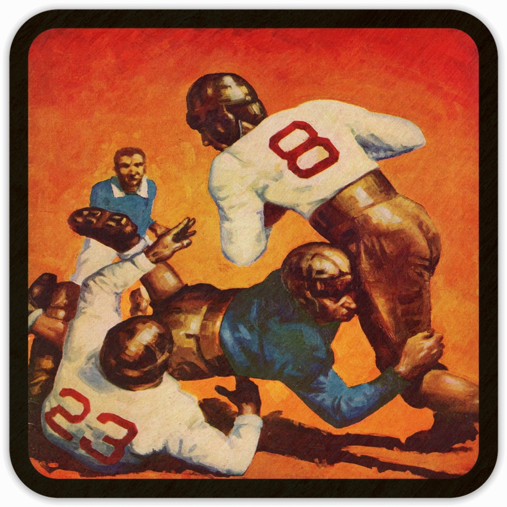 1934 Vintage Football Art Birch Wood Drink Coasters