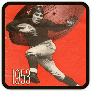 1953 Football Birch Wood Drink Coasters