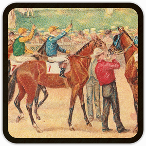 1903 Horse Racing Birch Wood Coasters