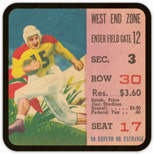 Load image into Gallery viewer, 1950's Football Ticket Stub Birch Wood Coasters