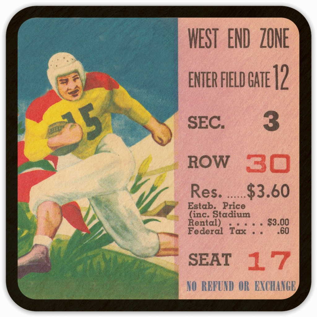 1950's Football Ticket Stub Birch Wood Coasters