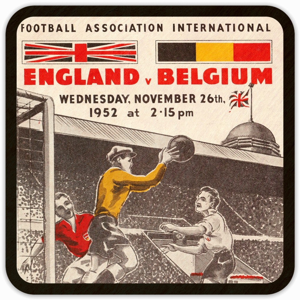1952 Belgium vs. England Birch Wood Soccer Program Coasters