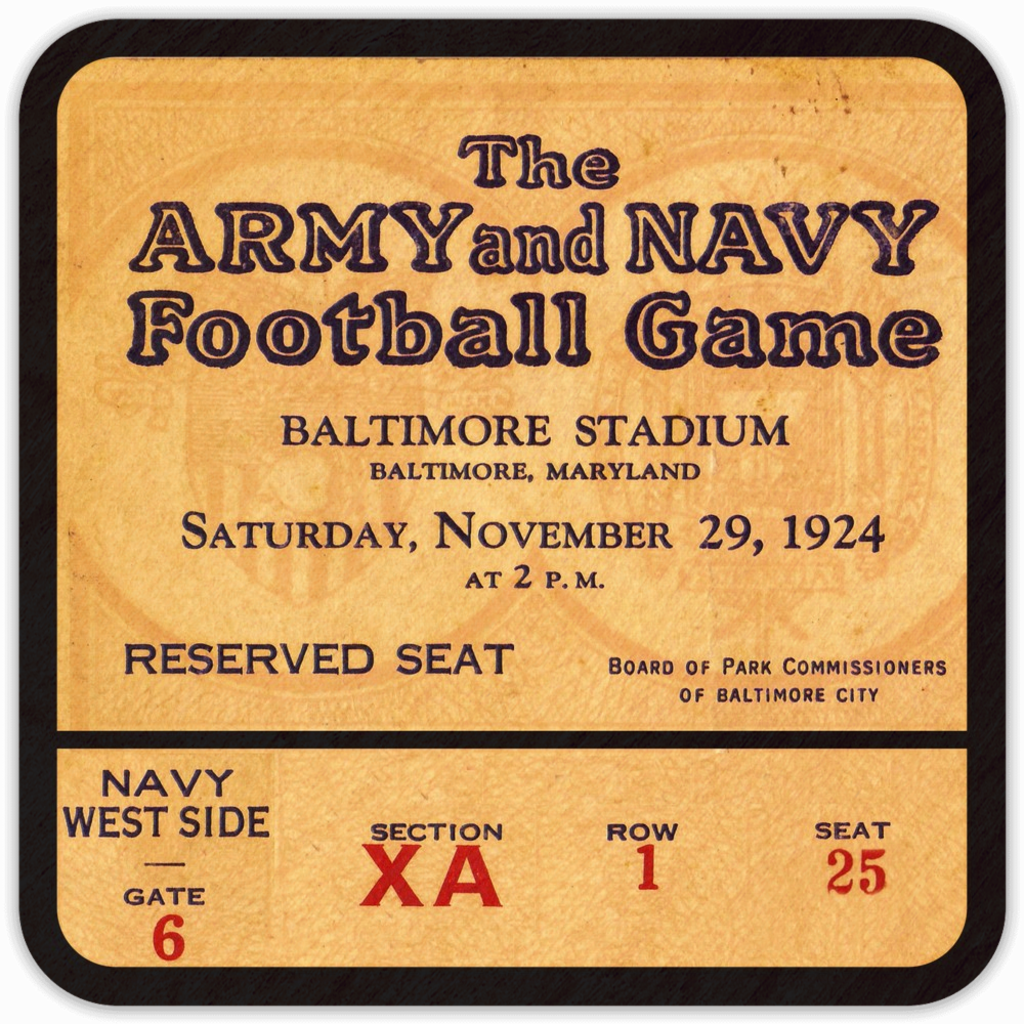 1924 Army vs. Navy Vintage Ticket Birch Wood Coasters