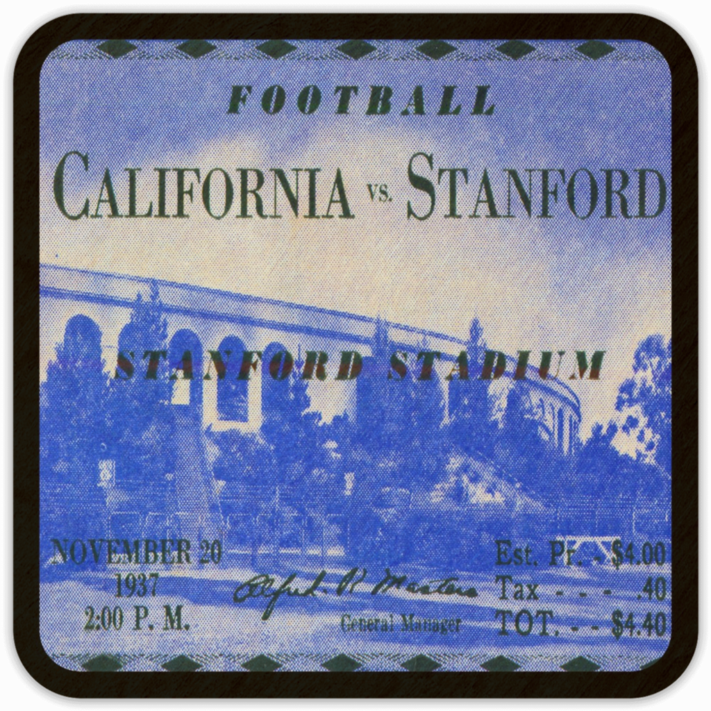 1937 Cal-Stanford Birch Wood Ticket Coasters