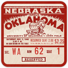 Load image into Gallery viewer, 1940 Oklahoma Sooners Birch Wood Ticket Wood Coasters