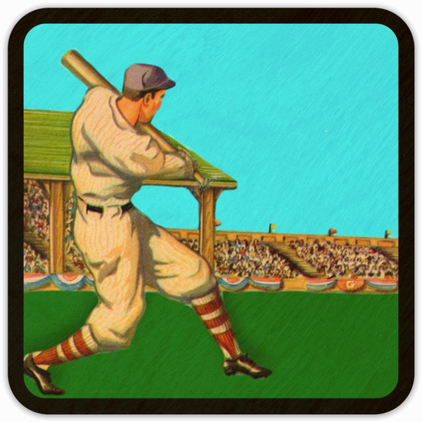 1940's Baseball Art Birch Wood Coasters: Best Father's Day Baseball Gifts