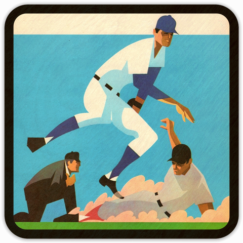 Coolstub™ 1970 Baseball Scorecard Art Birch Wood Coasters