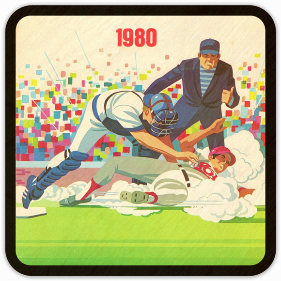 Coolstub™ 1980 Retro Baseball Program Cover Art Wood Coasters
