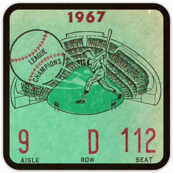 1967 Baseball Ticket Birch Wood Coasters