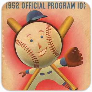 Coolstub™ 1952 Birth Year Gift Idea: 1952 Baseball Program Birch  Wood Coasters