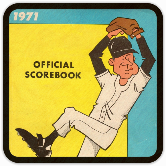 Coolstub™ 1971 Birth Year Gift: 1971 Baseball Scorebook Drink Coasters