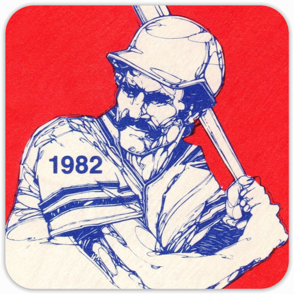 Coolstub™ 1982 Birth Year Gift Idea: 1982 Retro Baseball Art Birch Wood Coasters