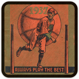 Coolstub™ 1937 Always Play The Best Vintage Baseball Birch Wood Coasters