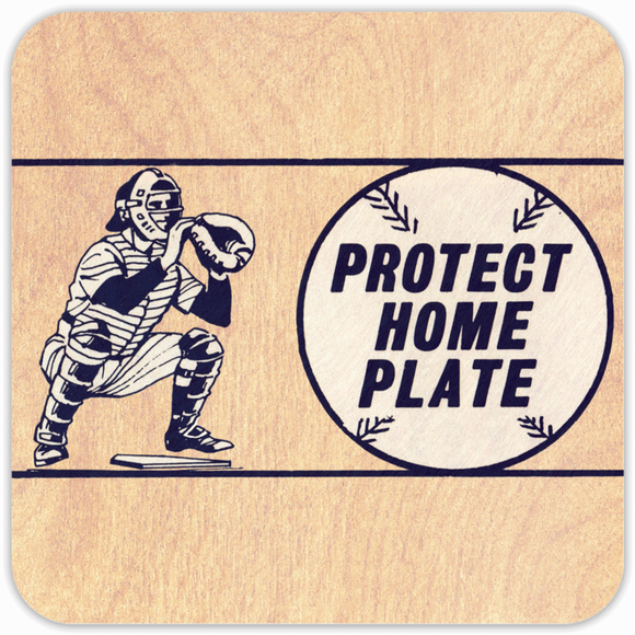 Coolstub™ 1971 Birth Year Gift Idea: 1971 Retro Baseball Catcher Art Birch Wood Coasters