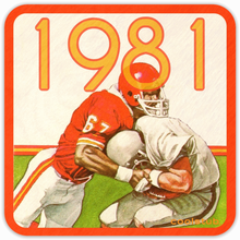 Load image into Gallery viewer, Coolstub™ 1981 Birth Year Gift Idea: 1981 Football Art Birch Wood Drink Coasters