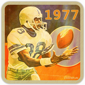 Coolstub™ 1977 Birth Year Gift Ideas: 1977 Football Art Birch Wood Coasters