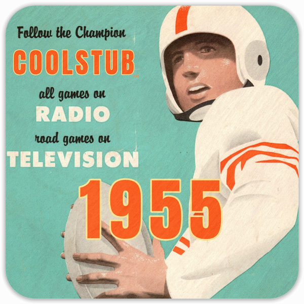 Coolstub™ 1955 Birth Year Gift: 1955 Vintage Quarterback Football Drink Coasters