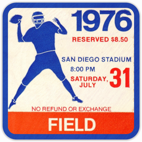 Coolstub™ 1976 Birth Year Gift Idea: 1976 Vintage Football Ticket Stub Coasters