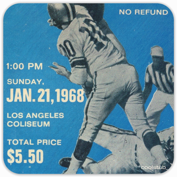 Coolstub™ January 21, 1968 Birthday Gift: 1968 Football Ticket Coasters