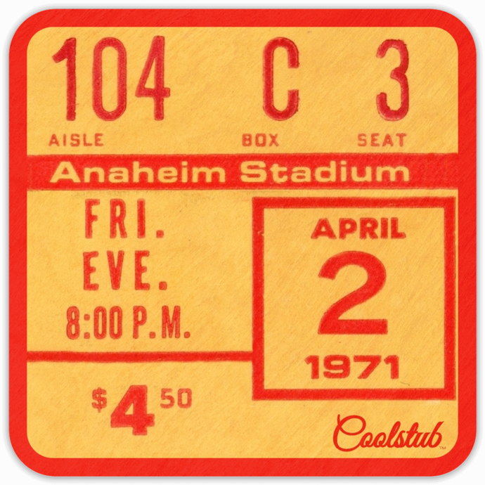 Coolstub™ April 2, 1971 Birthday Gift Ticket Coasters: Best 1971 Birth Year Gifts