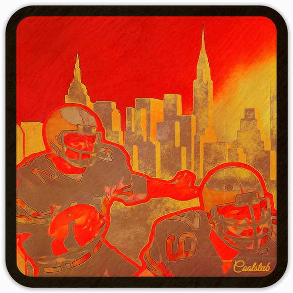 Coolstub™ 1981 Football City™ Skyline Sunset Birch Wood Coasters