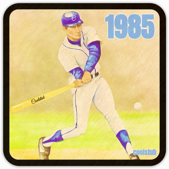 Coolstub™ 1985 Baseball Art Birch Wood Coasters