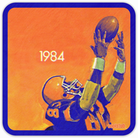 Coolstub™ 1984 Football Reception Art Birch Wood Coasters