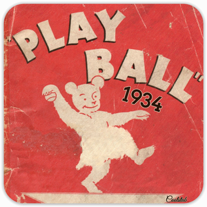 Coolstub™ 1934 Baseball Art Birch Wood Coaster Set