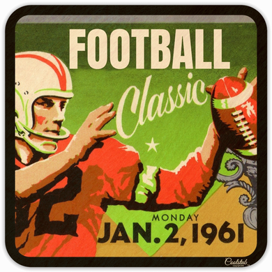 Vintage Ticket Coasters: 1961 Football Classic Birch Wood Coasters