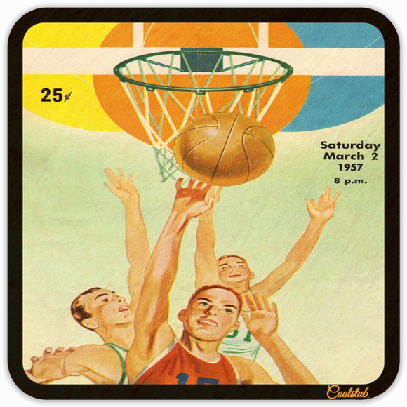 1957 Birth Year Gifts: March 2, 1957 Basketball Program Coasters by Coolstub™